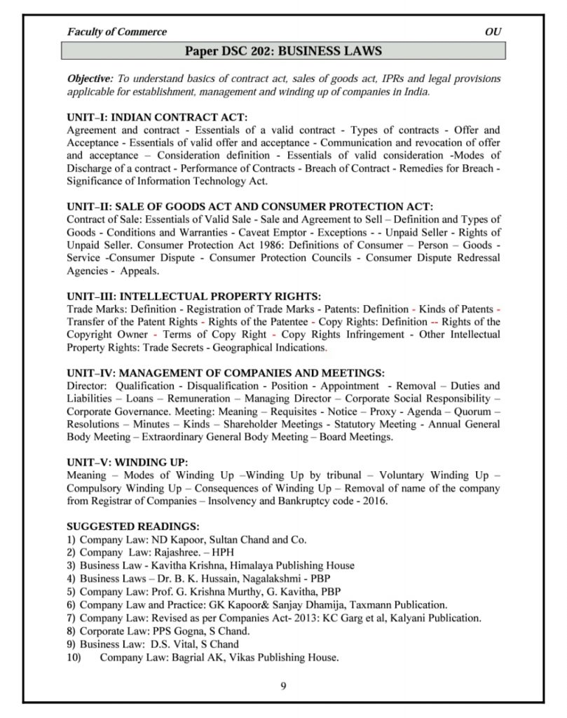 business law syllabus osmania university
